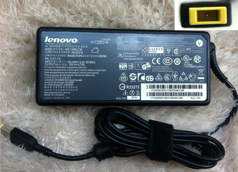 135W Lenovo IBM ThinkPad T540p Laptop AC Adapter Power Supply 20V 6.75A