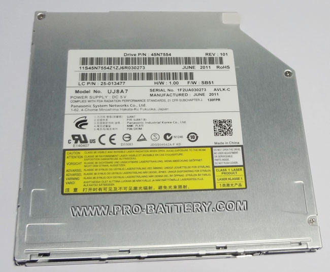 9.5mm SATA MATSHITA UJ8A7 Slot Load CD DVD RW Burner Drive