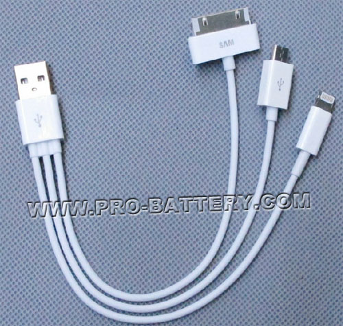 New 3 in 1 USB charge cable for iPhone 4S 5 Ipad Mini iPod Touch 5th iPod Nano 7